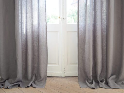 Grey linen curtains with rod pocket