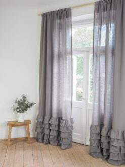 Grey linen curtain with ruffles