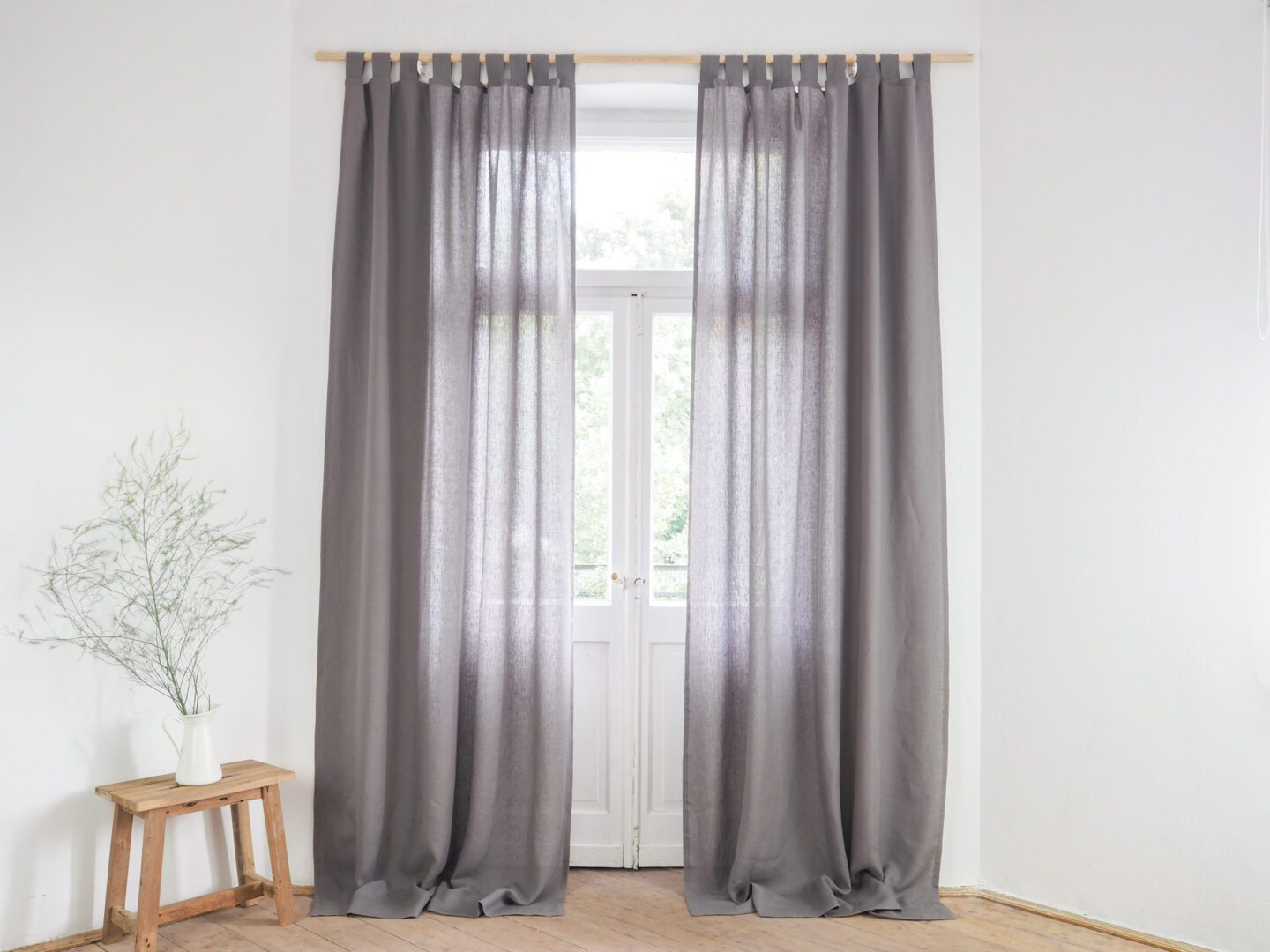 Gray tab top window curtain panel made of stonewashed linen