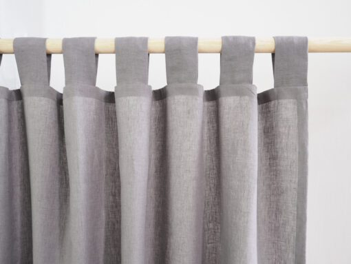 Grey tab top linen curtains