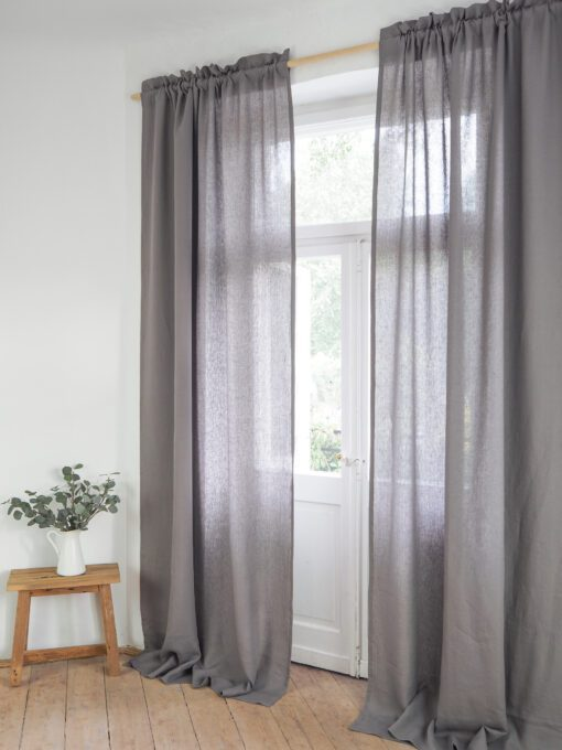 Grey linen curtains for living room