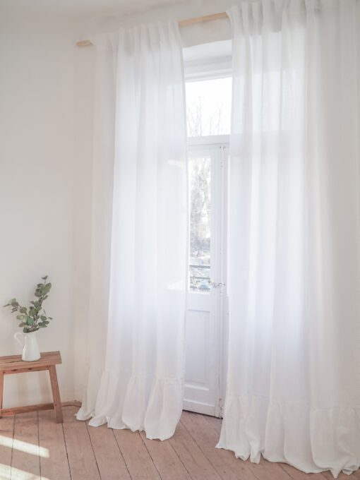 Semi sheer white linen curtains