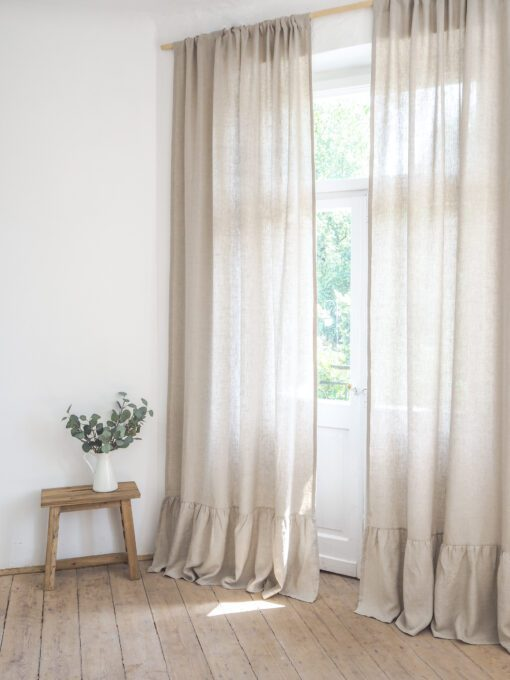 Beige linen curtains