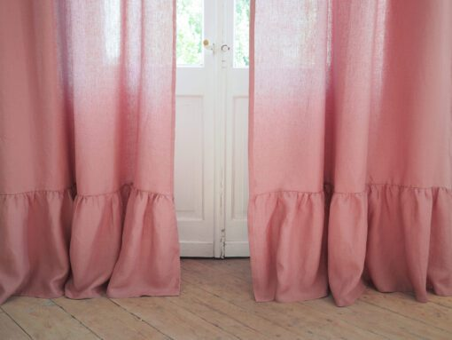 Ruffled linen curtain dusty pink