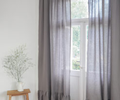 Grey linen curtain with ruffle