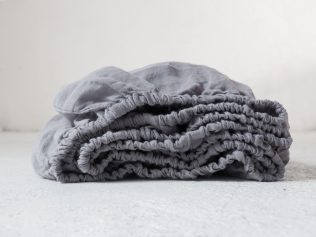 Linen fitted sheet grey