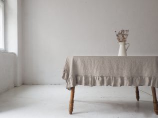 ruffled linen tablecloth