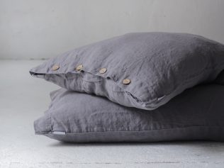 Grey linen pillowcases