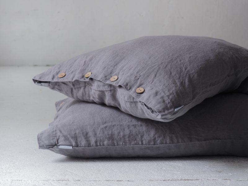 Grey linen pillowcases