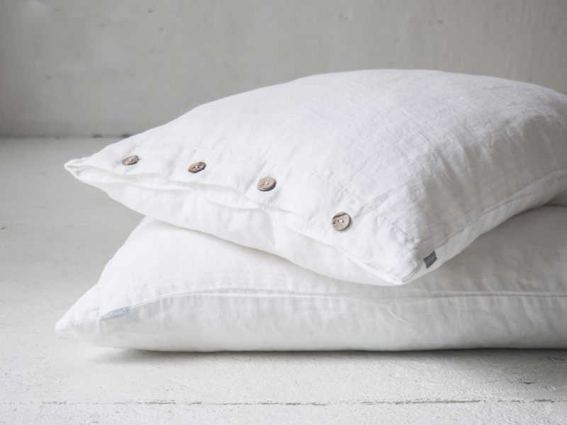 White linen pillowcases with buttons