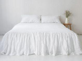 White linen bedskirt