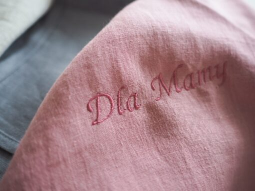 Embroidered personalised linen bedding