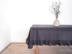 Charcoal linen tablecloth