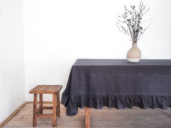 Charcoal linen tablecloth