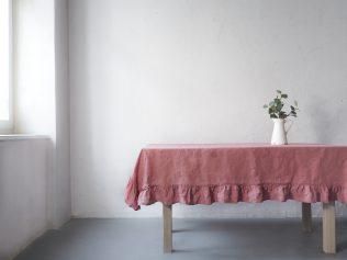 Lniany obrus brudny róż