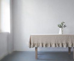 Ruffled linen tablecloth