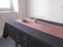 Linen runner with mitred corners