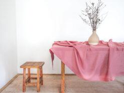 Pink linen tablecloth