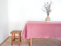 Pink linen tablecloth