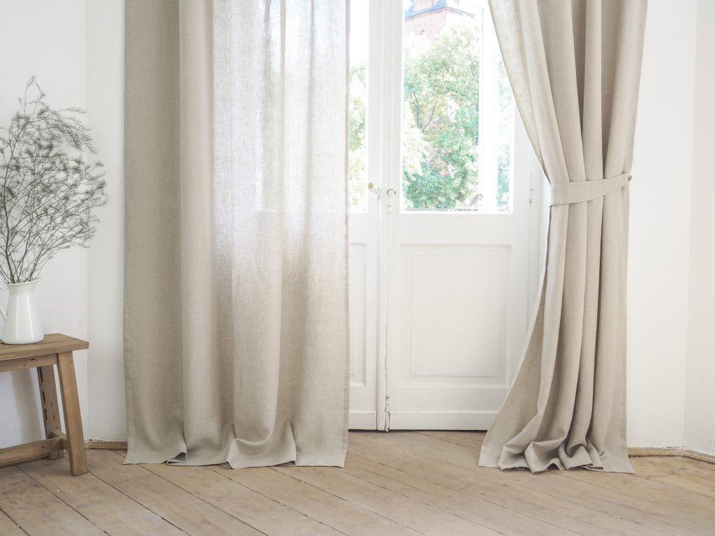 Natural tab top curtain