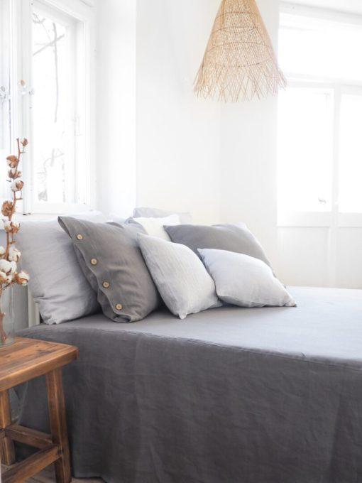 Gray linen bedskirt