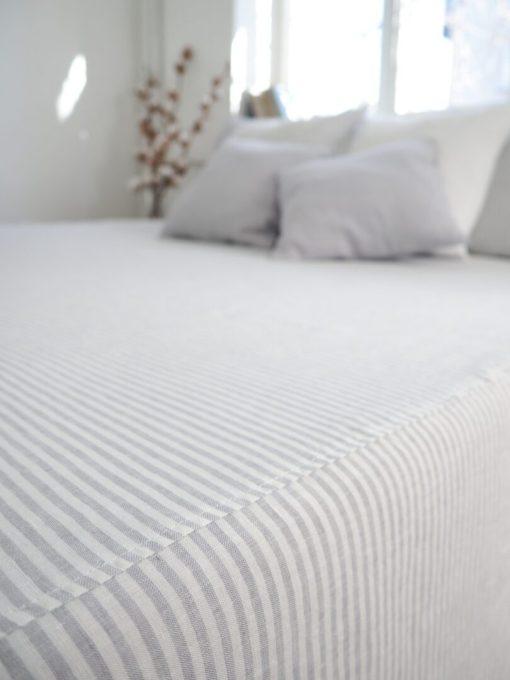 striped linen bedskirt