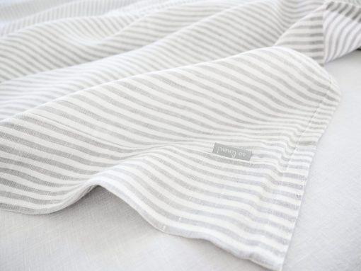 striped linen coverlet