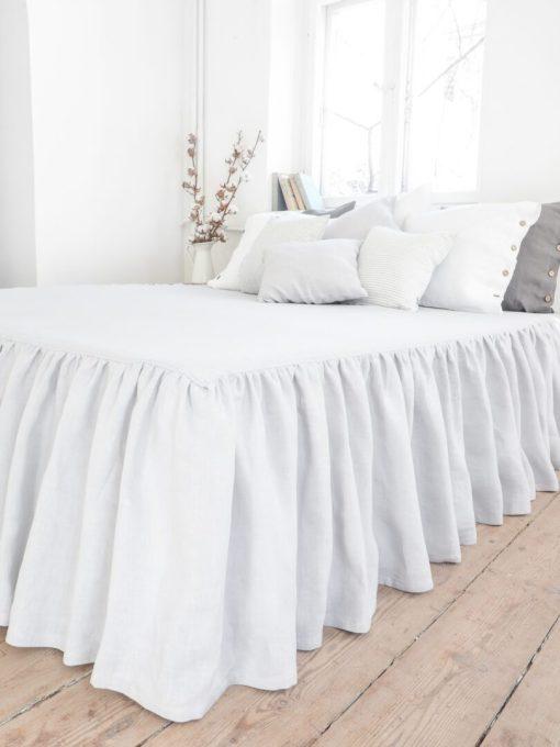Linen light gray bedskirt