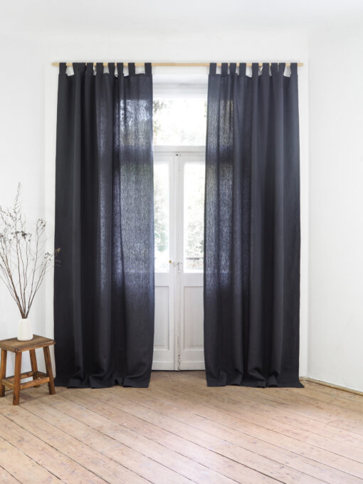 Charcoal heavy weight linen curtains
