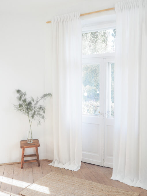White solid linen curtains with tape