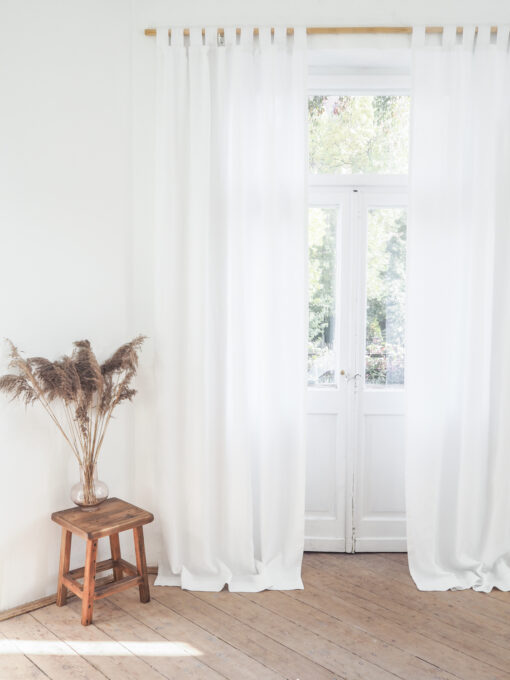 White heavy weight linen curtains