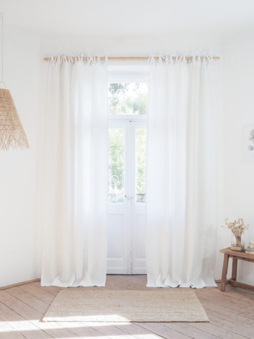 White tie top heavy linen curtains