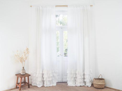White ruffled heavy linen curtain