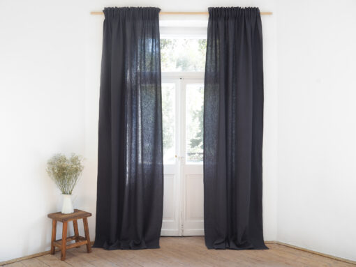 Charcoal solid linen curtains with tape