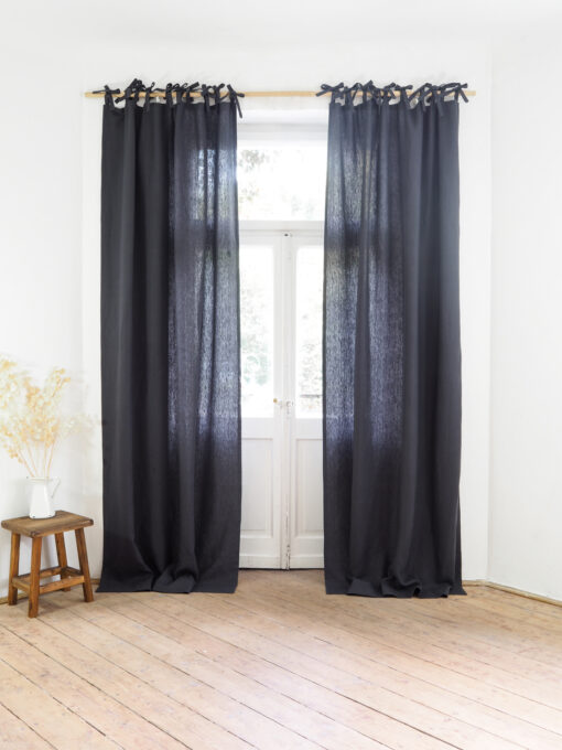 Charcoal tie top heavy linen curtains