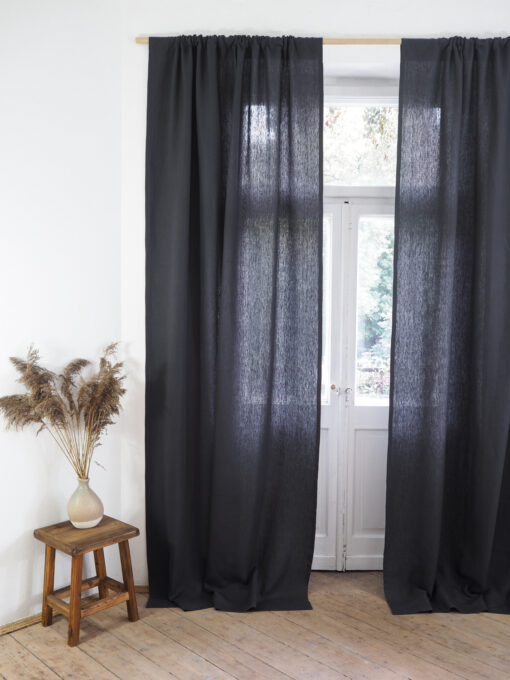 Charcoal heavy linen curtains