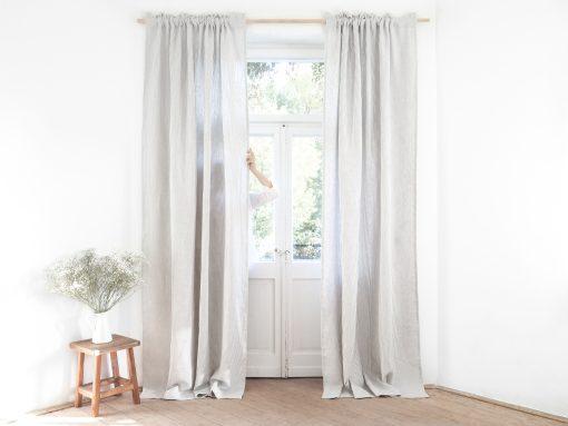 Striped room darkening linen curtains