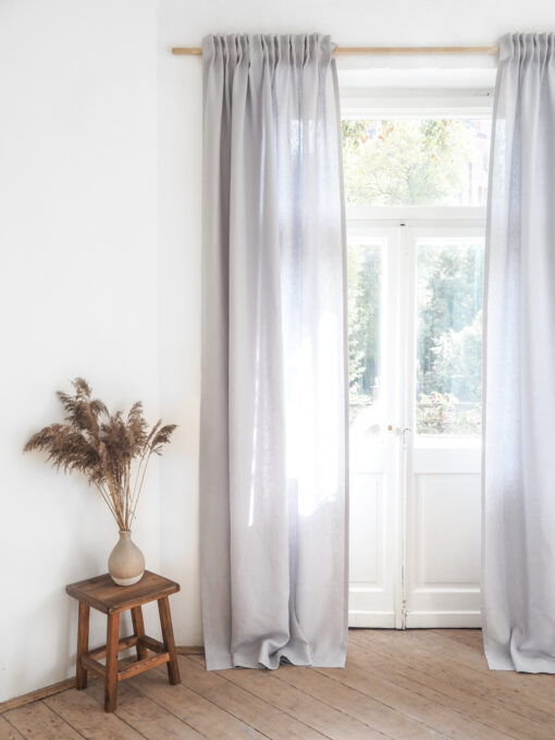 Light gray solid linen curtains with tape