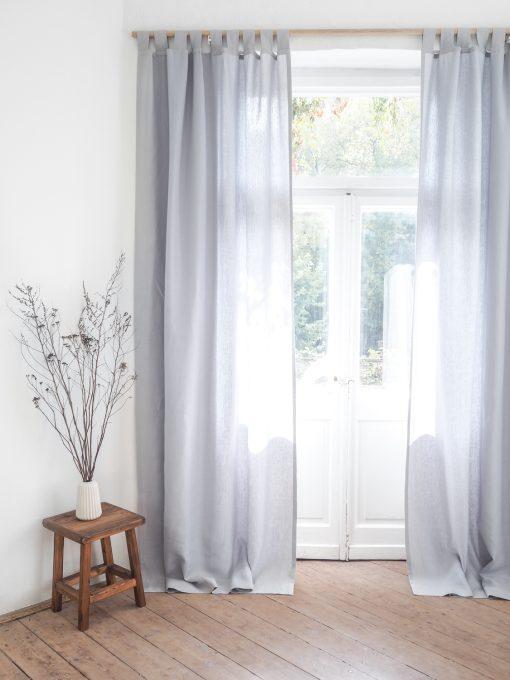 Light gray heavy weight linen curtains