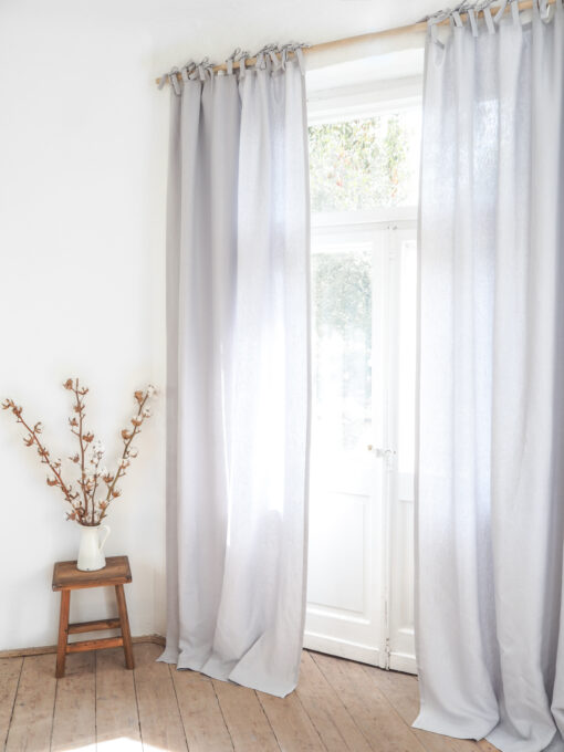 Light gray tie top heavy linen curtains