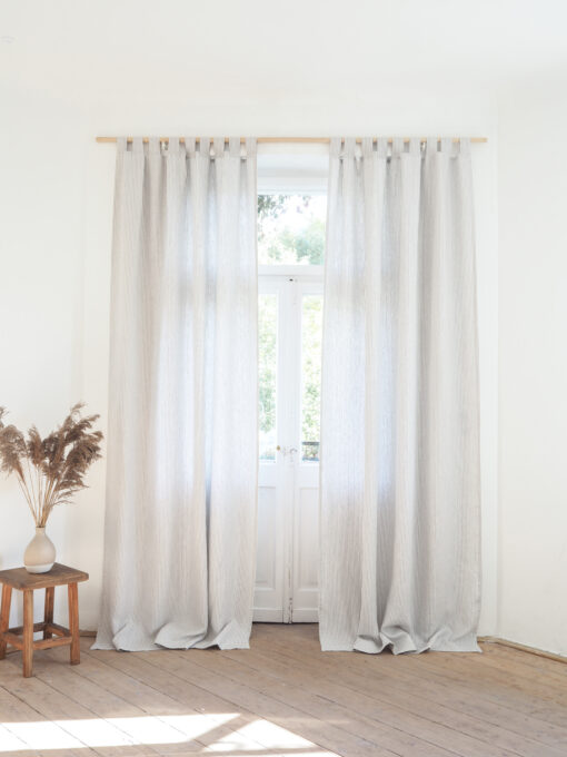 Striped heavy weight linen curtains