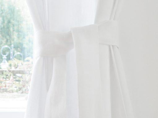 Lniane paski do zasłon białe