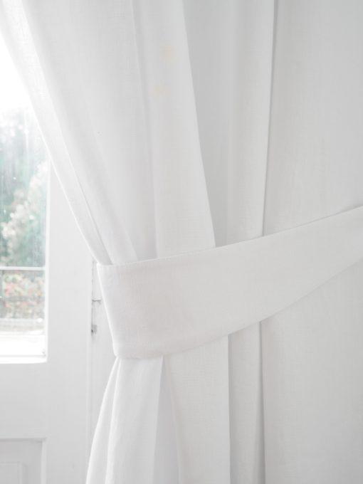 White linen curtain tie backs