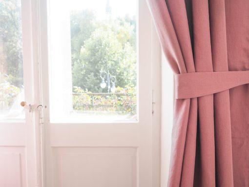 Lniane szarfy do zasłon różowe