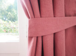 Pink linen curtain tie backs