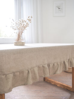 Ruffled burlap tablecloth