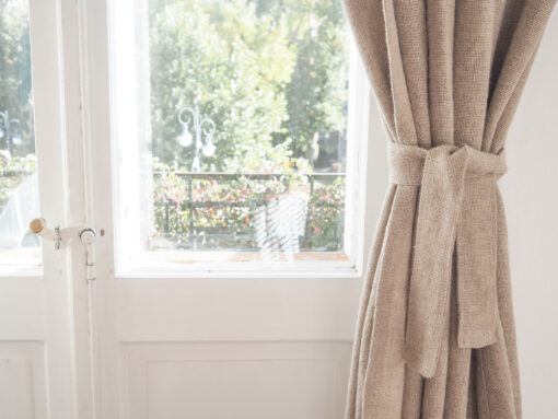 burlap curtain belt