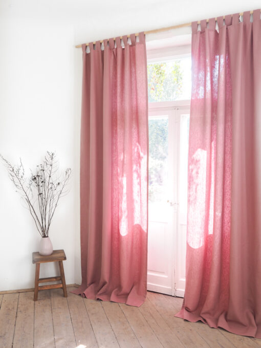 Pink heavy weight linen curtains