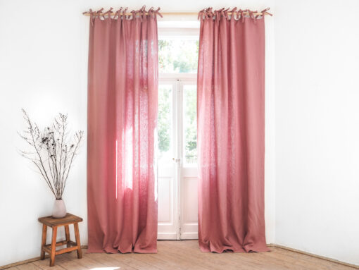Pink tie top heavy linen curtains