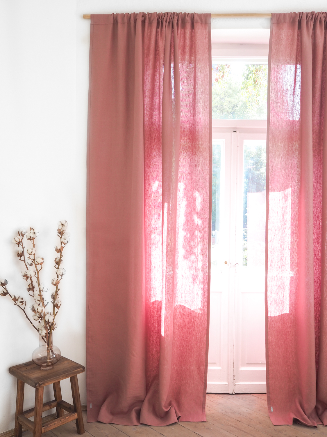 Pink curtains made of heavy linen